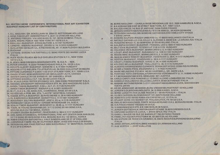 Xertox csoport: Emberkísérletek c. mappa 77 lappal (teljes) (1980)