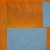 Two blue rectangles on an orange-colored basis