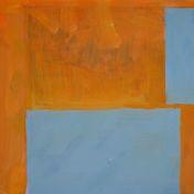 Két kék téglalap narancs színű alapon