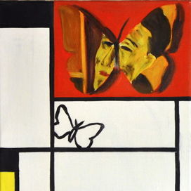 Mondrian and Modigliani with the butterfly